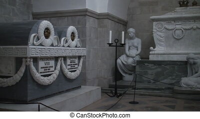 Tombs of Danish kings in the mausoleum of Roskilde Cathedral