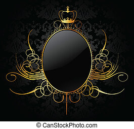 Royal background with golden frame. Vector illustration