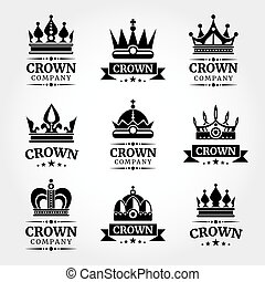 Royal vector crown logo templates set in black and white