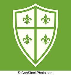 royal, vert, bouclier, icône