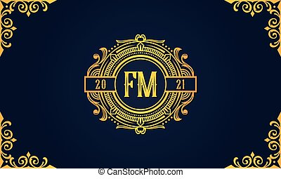 Royal vintage initial letter FM logo. This logo incorporate with luxury typeface in the creative way.It will be suitable for which company or brand name start those initial.