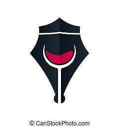 Royal wine pen concept, vector illustration