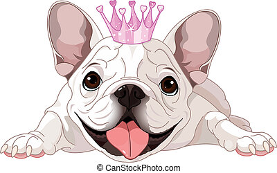 Illustration of royalty bulldog with crown