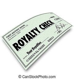 Royalty Check Commission Income Percentage Revenue Sales