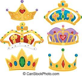 Royalty Crowns Elements Illustration