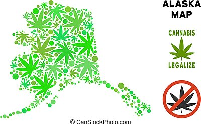Royalty Free Cannabis Leaves Collage Alaska Map - Royalty...