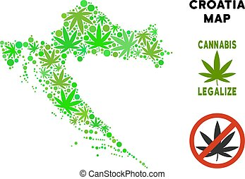 Royalty Free Cannabis Leaves Collage Croatia Map - Royalty...