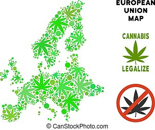 Royalty Free Cannabis Leaves Collage European Union Map -...