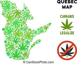 Royalty Free Cannabis Leaves Collage Quebec Province Map -...
