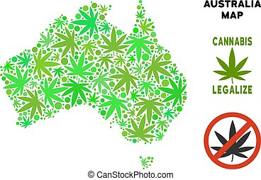 Royalty Free Cannabis Leaves Composition Australia Map -...
