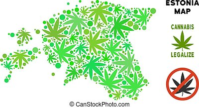 Royalty Free Cannabis Leaves Composition Estonia Map -...