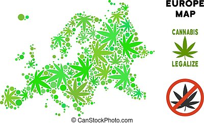 Royalty Free Cannabis Leaves Composition Europe Map -...
