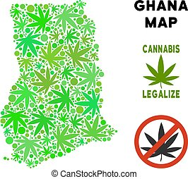 Royalty Free Cannabis Leaves Composition Ghana Map - Royalty...