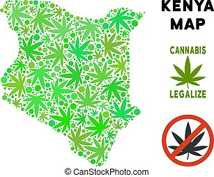 Royalty Free Cannabis Leaves Composition Kenya Map - Royalty...