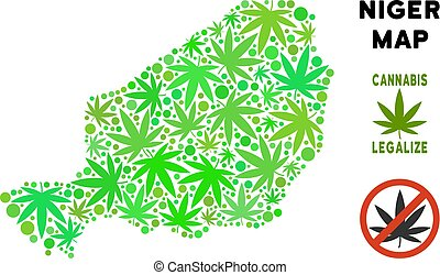 Royalty Free Cannabis Leaves Composition Niger Map - Royalty...