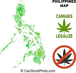 Royalty Free Cannabis Leaves Composition Philippines Map -...