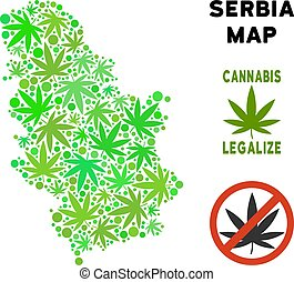 Royalty Free Cannabis Leaves Composition Serbia Map -...
