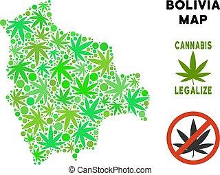Royalty Free Cannabis Leaves Mosaic Bolivia Map - Royalty...