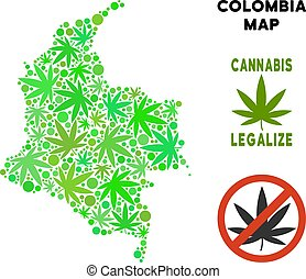Royalty Free Cannabis Leaves Mosaic Colombia Map - Royalty...