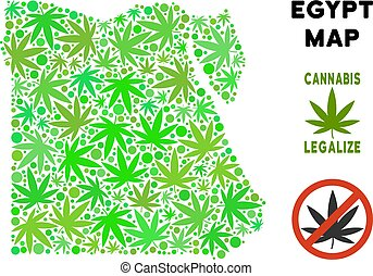 Royalty Free Cannabis Leaves Mosaic Egypt Map - Royalty free...