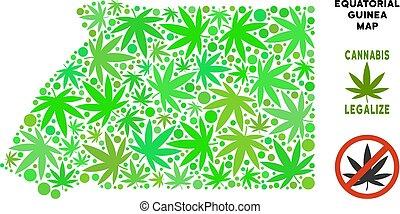 Royalty Free Cannabis Leaves Mosaic Equatorial Guinea Map -...