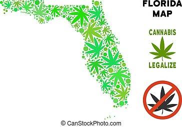 Royalty Free Cannabis Leaves Mosaic Florida Map
