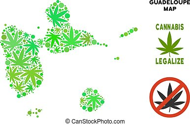 Royalty Free Cannabis Leaves Mosaic Guadeloupe Map - Royalty...