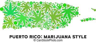 Royalty Free Cannabis Leaves Mosaic Puerto Rico Map -...