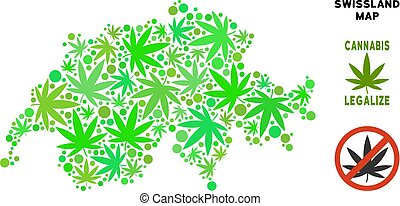 Royalty Free Cannabis Leaves Mosaic Swissland Map - Royalty...