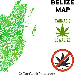 Royalty Free Cannabis Leaves Style Belize Map - Royalty free...