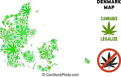 Royalty Free Cannabis Leaves Style Denmark Map - Royalty...