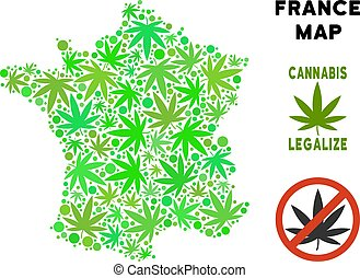 Royalty Free Cannabis Leaves Style France Map - Royalty free...