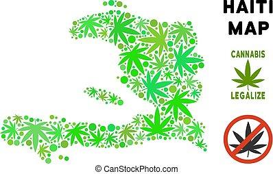 Royalty Free Cannabis Leaves Style Haiti Map - Royalty free...