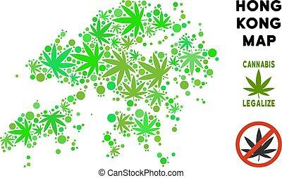 Royalty Free Cannabis Leaves Style Hong Kong Map - Royalty...