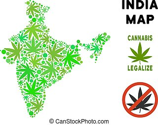 Royalty Free Cannabis Leaves Style India Map - Royalty free...