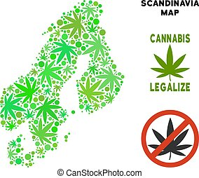 Royalty Free Cannabis Leaves Style Scandinavia Map - Royalty...