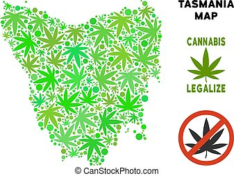 Royalty Free Cannabis Leaves Style Tasmania Island Map -...