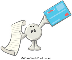 Royalty-free clipart picture of a white konkee character holding a receipt and a blue credit card, on a white background.