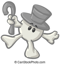 Royalty-free clipart picture of a white konkee character in a top hat, dancing with a cane, on a white background.