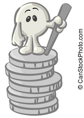 Royalty-free clipart picture of a white konkee character standing on top of a stack of coins, on a white background.