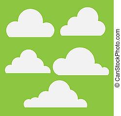 Drawing Art of Cartoon Comic Clouds Set Vector Illustration