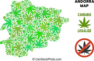 Royalty Free Marijuana Leaves Collage Andorra Map - Royalty...