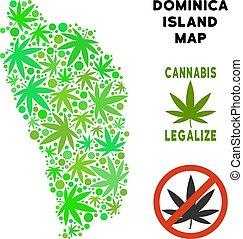 Royalty Free Marijuana Leaves Collage Dominica Island Map -...