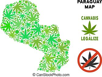 Royalty Free Marijuana Leaves Collage Paraguay Map - Royalty...