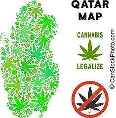Royalty Free Marijuana Leaves Collage Qatar Map - Royalty...
