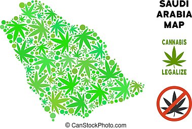 Royalty Free Marijuana Leaves Collage Saudi Arabia Map -...