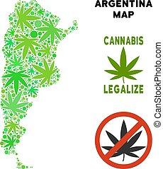 Royalty Free Marijuana Leaves Composition Argentina Map -...