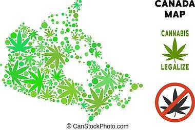 Royalty Free Marijuana Leaves Composition Canada Map -...