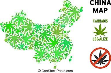 Royalty Free Marijuana Leaves Mosaic China Map - Royalty...