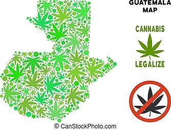 Royalty Free Marijuana Leaves Mosaic Guatemala Map - Royalty...
